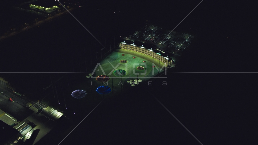 The Topgolf course in Hillsboro, Oregon at night Aerial Stock Photo AX155_481.0000176F | Axiom Images