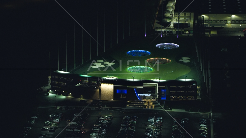 The Topgolf course in Hillsboro, Oregon at night Aerial Stock Photo AX155_483.0000247F | Axiom Images