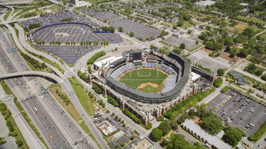 Turner Field and surrounding community and highways, Atlanta, Georgia Aerial Stock Photo AX36_001.0000112F | Axiom Images