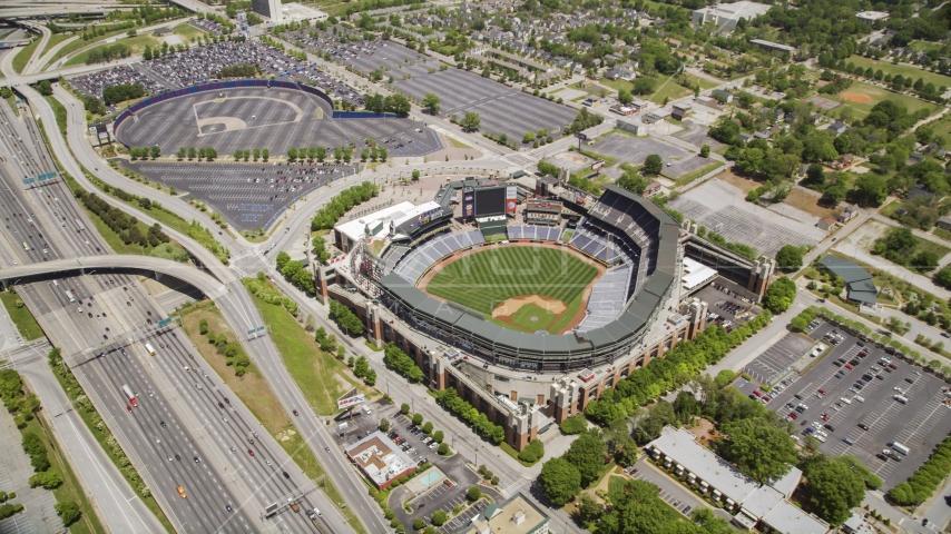 Turner Field and surrounding community and highways, Atlanta, Georgia Aerial Stock Photos   AX36_001.0000112F