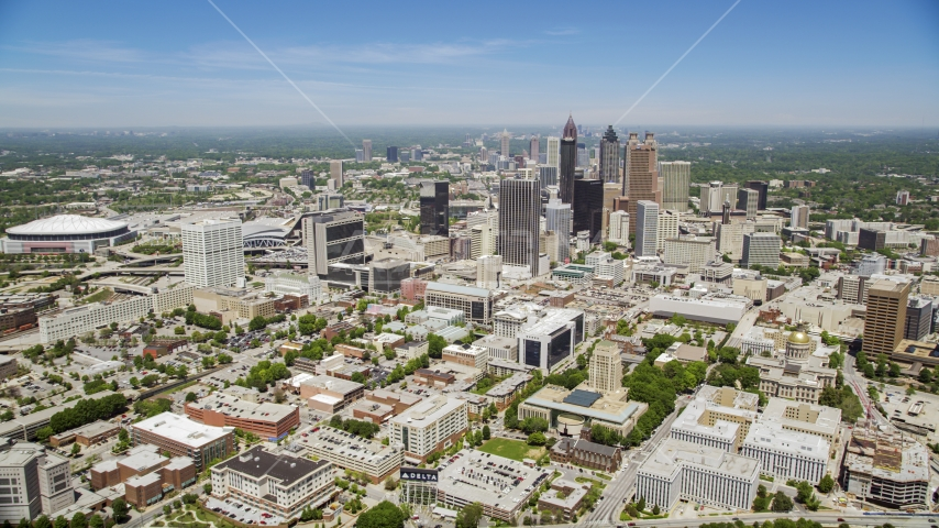 Downtown skyscrapers and office buildings, Atlanta, Georgia Aerial Stock Photo AX36_003.0000071F | Axiom Images
