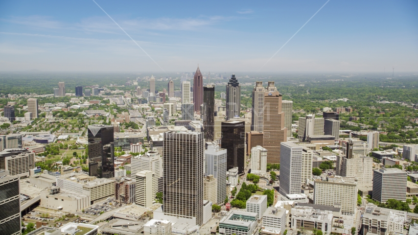Downtown skyscrapers and Westin Peachtree Plaza Hotel, Atlanta, Georgia Aerial Stock Photos | AX36_004.0000076F