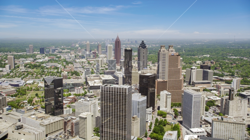 Downtown skyscrapers and Westin Peachtree Plaza Hotel, Atlanta, Georgia Aerial Stock Photos | AX36_004.0000190F