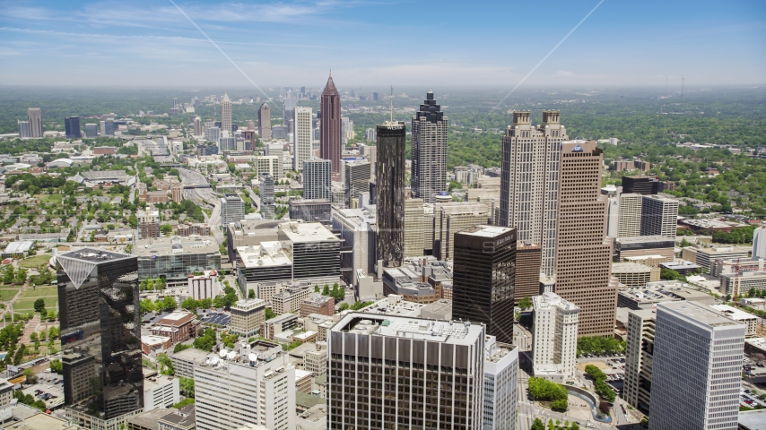 Downtown Atlanta skyscrapers and office buildings, Atlanta, Georgia Aerial Stock Photos | AX36_005.0000092F