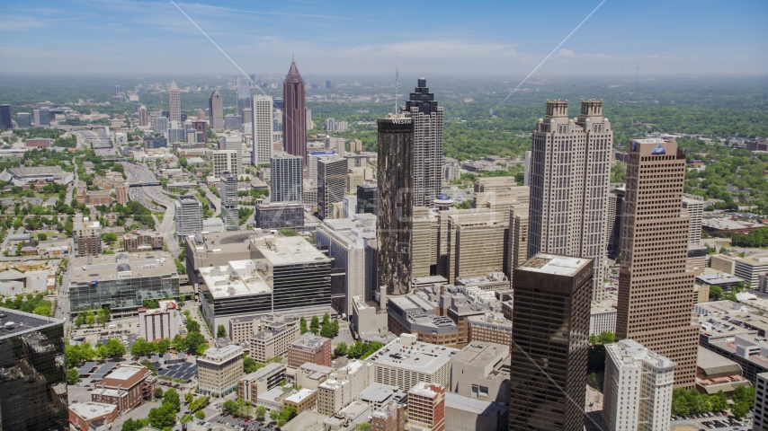 Downtown Atlanta skyscrapers and office buildings, Atlanta, Georgia Aerial Stock Photos | AX36_005.0000227F