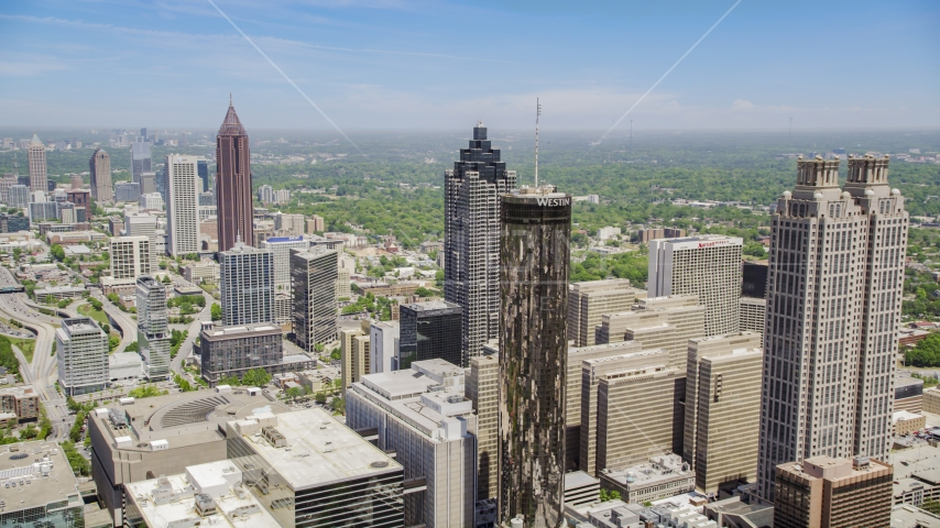 Office buildings and skyscrapers, Downtown Atlanta, Georgia Aerial Stock Photo AX36_006.0000155F | Axiom Images