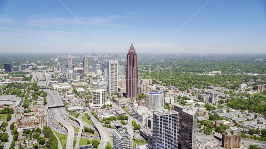 Bank of America Plaza and office buildings, Midtown Atlanta, Georgia Aerial Stock Photo AX36_007.0000058F | Axiom Images