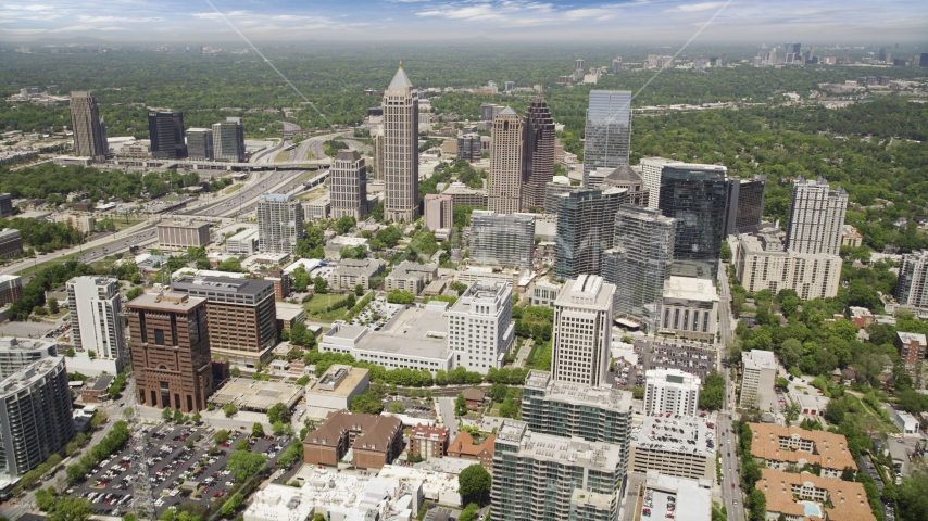 Office buildings and skyscrapers, Midtown Atlanta, Georgia Aerial Stock Photos | AX36_011.0000061F