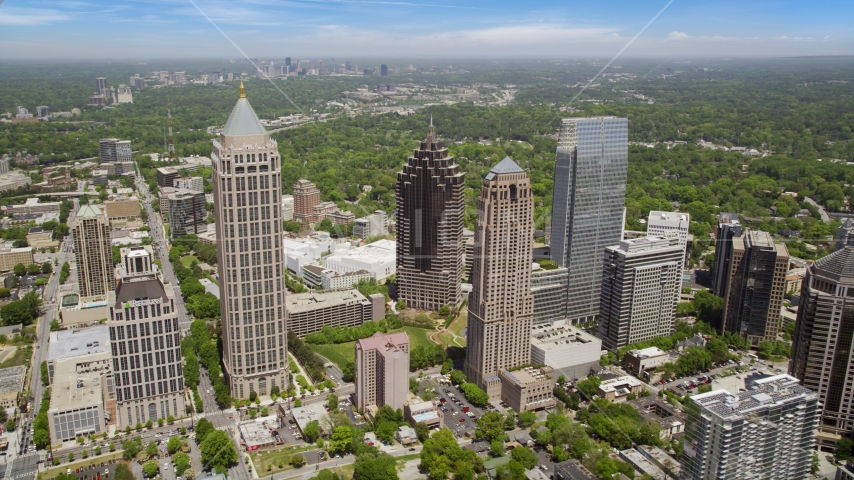 Midtown Atlanta skyscrapers and buildings, Atlanta, Georgia Aerial Stock Photos | AX36_012.0000290F