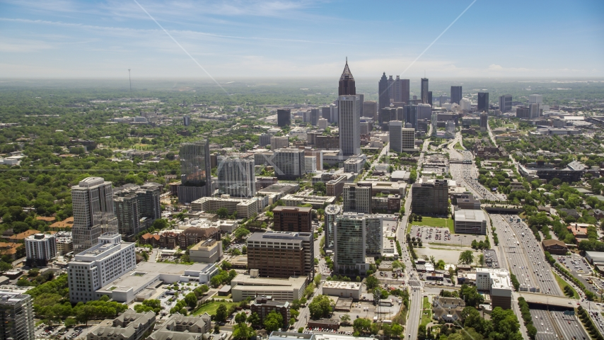 Midtown and Downtown Atlanta skycrapers, Georgia Aerial Stock Photo AX36_017.0000098F | Axiom Images