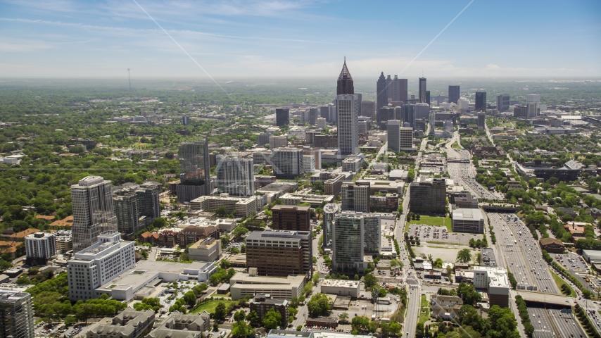 Midtown and Downtown Atlanta skycrapers, Georgia Aerial Stock Photos AX36_017.0000098F | Axiom Images