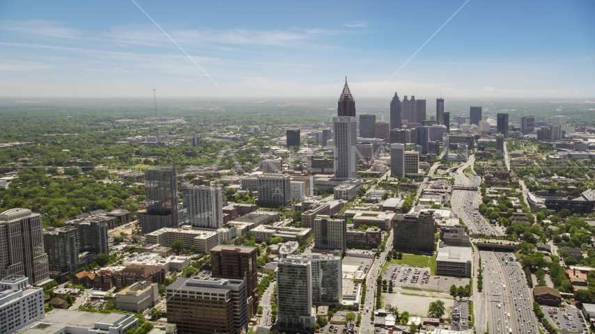 Midtown and Downtown skyscrapers, Atlanta, Georgia Aerial Stock Photo AX36_017.0000231F | Axiom Images