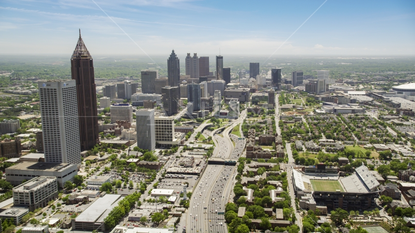 Downtown Connector, skyscrapers in the distance, Atlanta, Georgia Aerial Stock Photos | AX36_019.0000037F