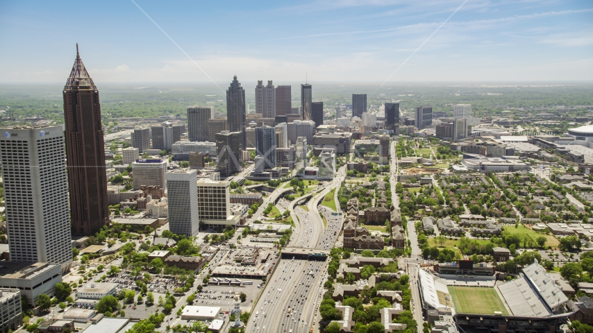Downtown Connector traffic,  skyscrapers, Atlanta, Georgia Aerial Stock Photos | AX36_019.0000117F