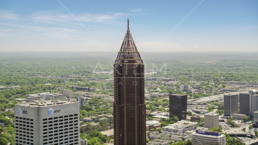 Top of Bank of America Plaza, AT&T building, Midtown Atlanta, Georgia Aerial Stock Photos | AX36_020.0000045F