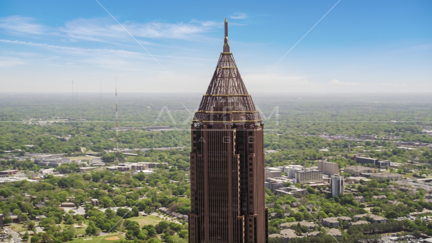 Top of Bank of America Plaza, distant office buildings, Midtown Atlanta, Georgia Aerial Stock Photos | AX36_021.0000042F