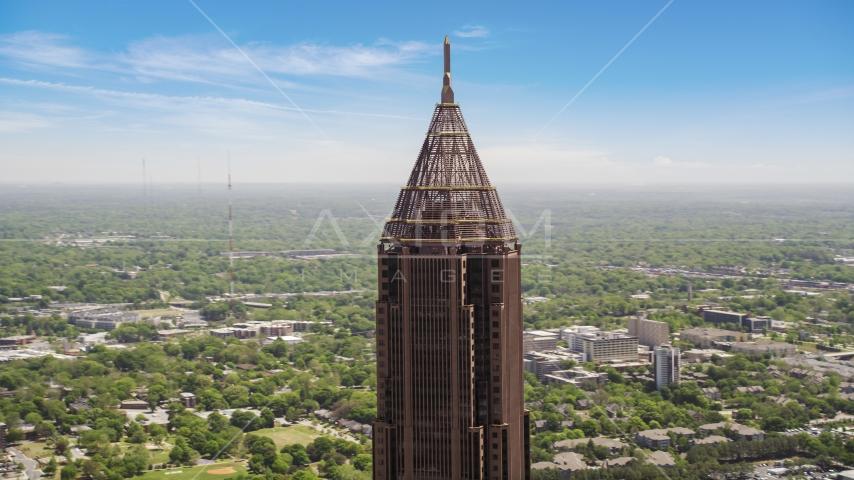 Top of Bank of America Plaza, distant office buildings, Midtown Atlanta, Georgia Aerial Stock Photos | AX36_021.0000042F