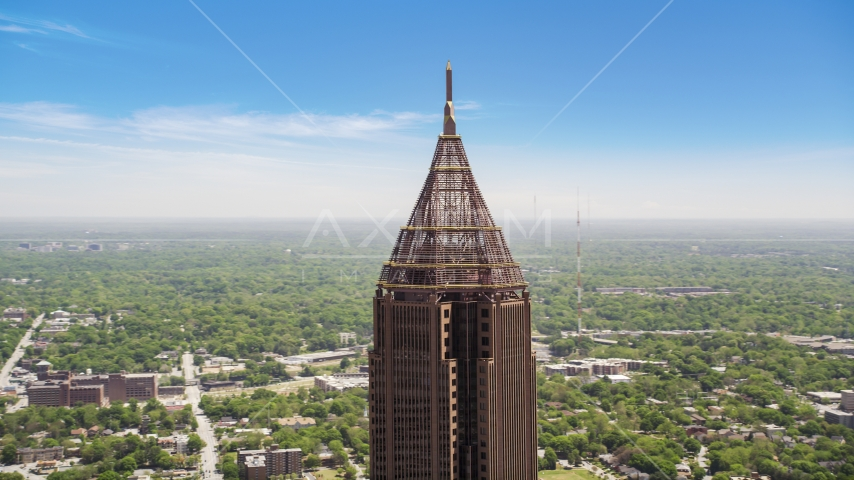 Top of Bank of America Plaza, Midtown Atlanta, Georgia Aerial Stock Photos | AX36_021.0000138F
