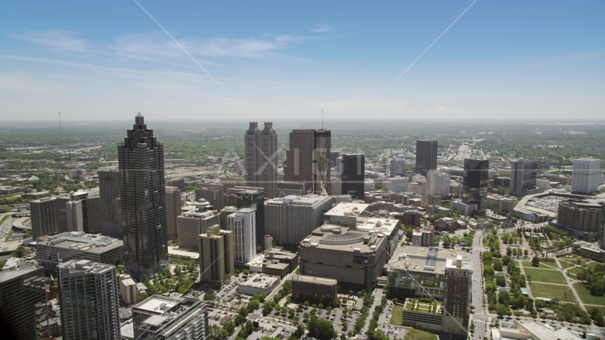 Downtown high-rises, office buildings and skyscrapers, Atlanta, Georgia Aerial Stock Photos | AX36_022.0000029F