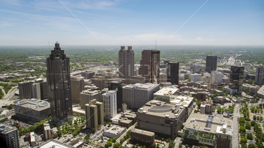 High-rises, office buildings and skyscrapers, Downtown Atlanta, Georgia Aerial Stock Photos | AX36_022.0000114F