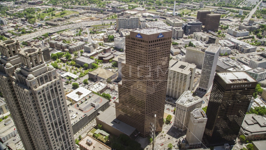 Three tall skyscrapers in Downtown Atlanta, Georgia Aerial Stock Photos | AX36_024.0000139F