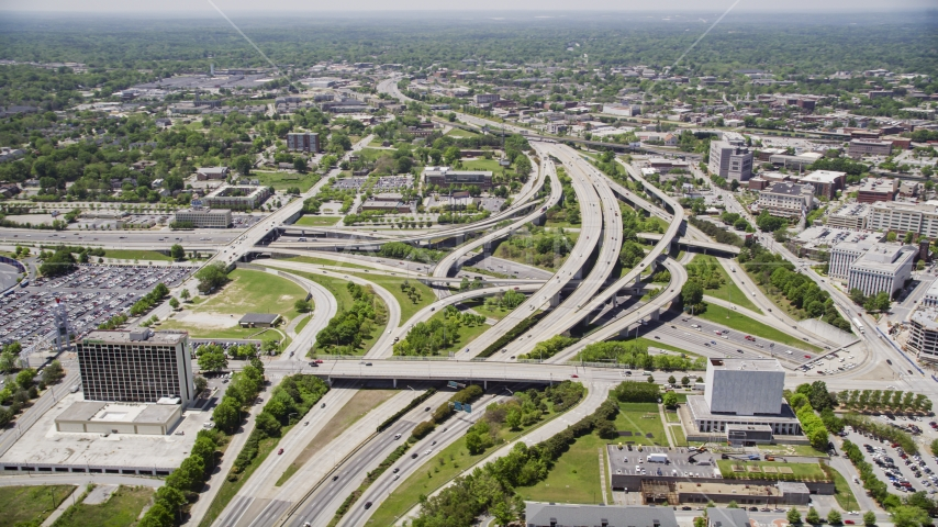 The Downtown Connector interchange in Downtown Atlanta, Georgia Aerial Stock Photos | AX36_027.0000031F