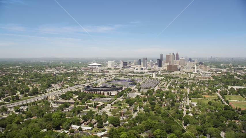 The Downtown Atlanta skyline and Turner Field, Georgia Aerial Stock Photo AX36_031.0000018F | Axiom Images