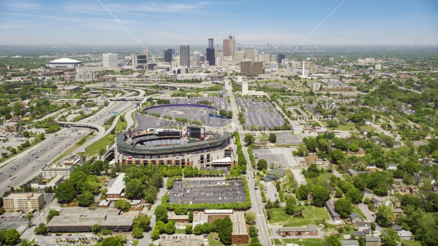 Turner Field and Downtown Atlanta skyline in the distance, Georgia Aerial Stock Photos AX36_032.0000294F