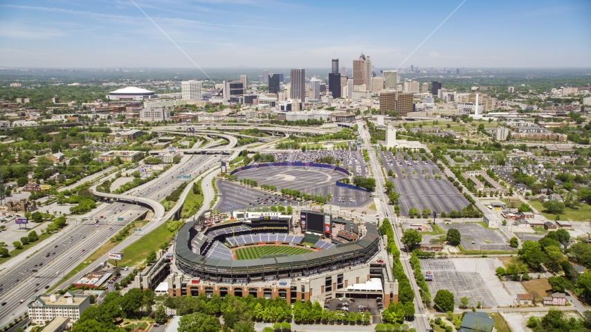 Turner Field and the skyline of Downtown Atlanta, Georgia Aerial Stock Photos | AX36_033.0000053F