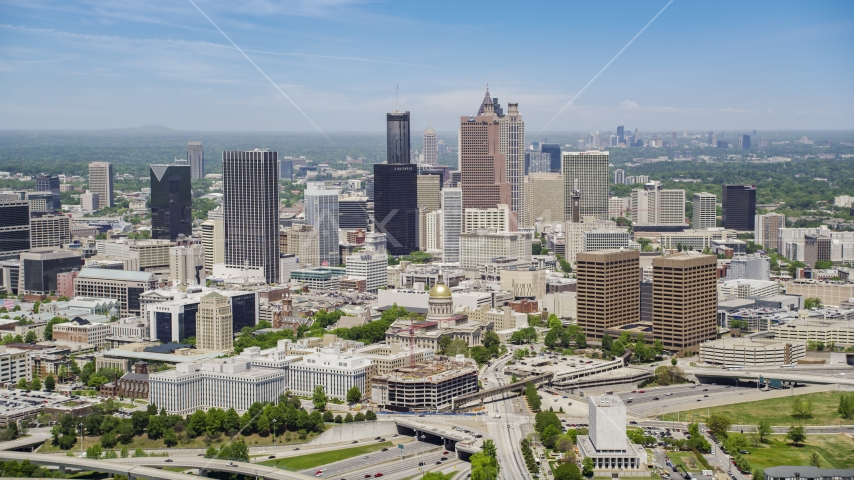 Downtown skyscrapers and Georgia State Capitol, Atlanta, Georgia Aerial Stock Photos | AX36_035.0000002F