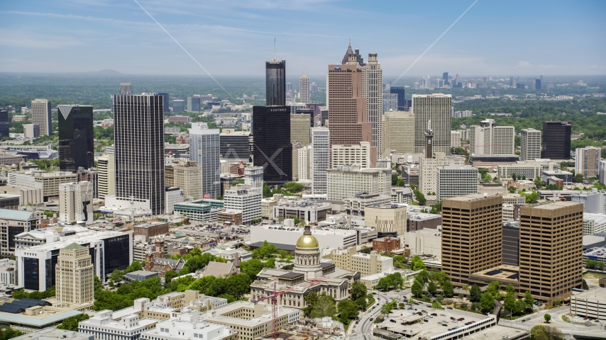 The Georgia State Capitol near Downtown Atlanta skyscrapers in Georgia Aerial Stock Photos | AX36_035.0000288F