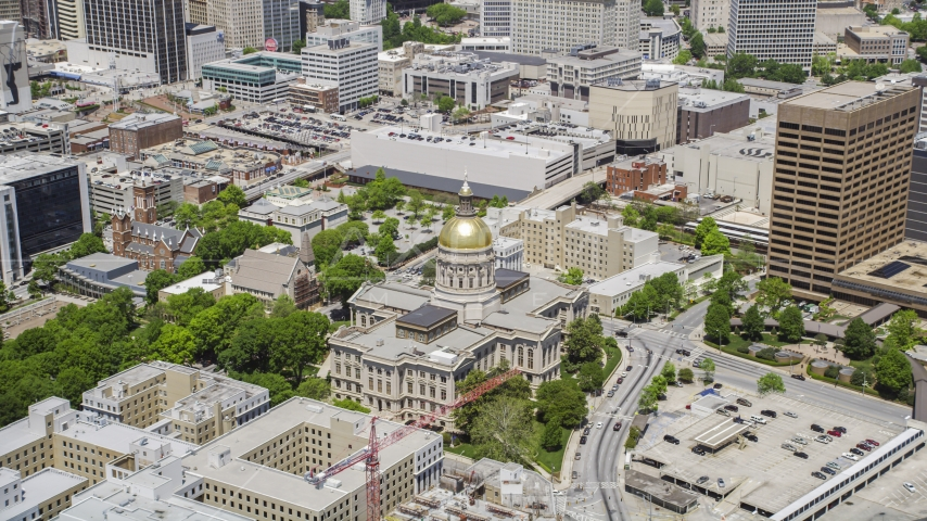 The Georgia State Capitol building in Downtown Atlanta, Georgia Aerial Stock Photo AX36_036.0000106F | Axiom Images