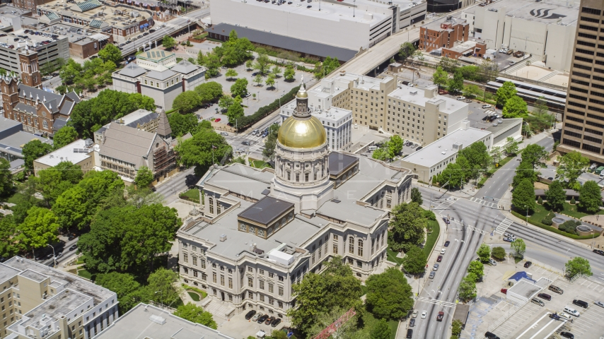The Georgia State Capitol with golden dome in Downtown Atlanta, Georgia Aerial Stock Photos | AX36_036.0000232F