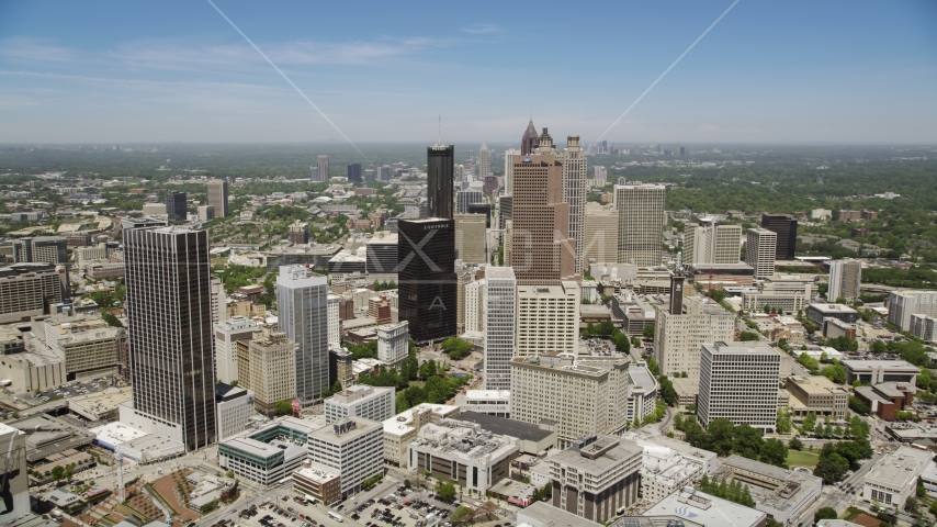 Georgia-Pacific Tower and Equitable Plaza, Downtown Atlanta, Georgia Aerial Stock Photos | AX36_037.0000050F