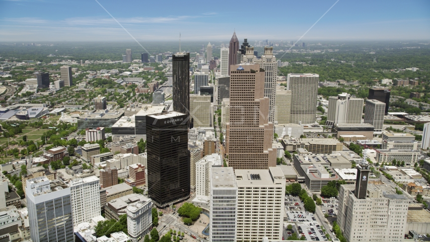 Downtown skyscrapers on a sunny day,  Atlanta, Georgia Aerial Stock Photo AX36_038.0000044F | Axiom Images