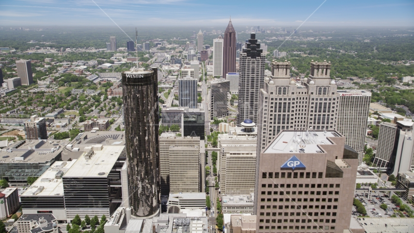 Downtown skyscrapers and office buildings, Atlanta, Georgia Aerial Stock Photos | AX36_039.0000020F