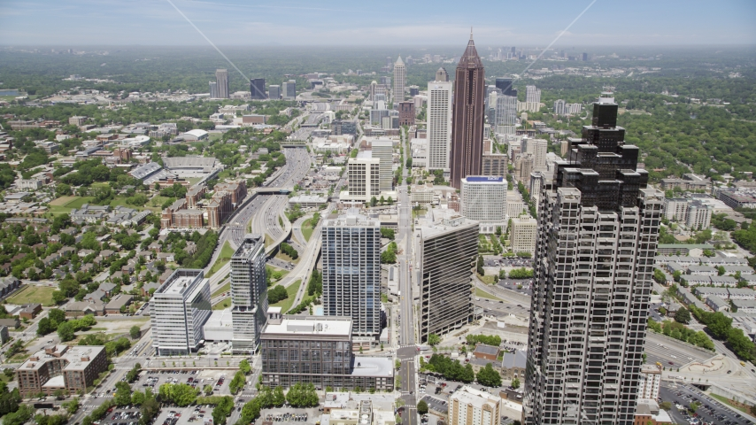 SunTrust Plaza, Bank of America Plaza, Midtown Atlanta, Georgia Aerial Stock Photos | AX36_040.0000039F