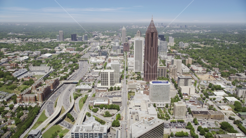 SunTrust Plaza, Bank of America Plaza,  office buildings, Midtown Atlanta, Georgia Aerial Stock Photo AX36_040.0000257F | Axiom Images