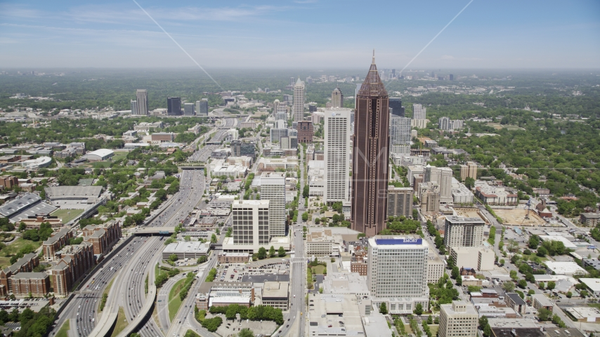 SunTrust Plaza near Bank of America Plaza, Midtown Atlanta, Georgia Aerial Stock Photos | AX36_040.0000336F