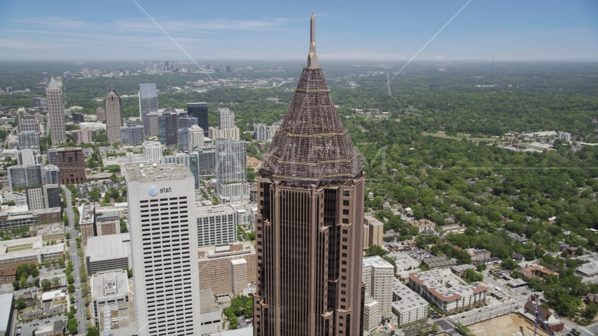 Close-up of the top of Bank of America Plaza, Midtown Atlanta Aerial Stock Photos | AX36_042.0000078F