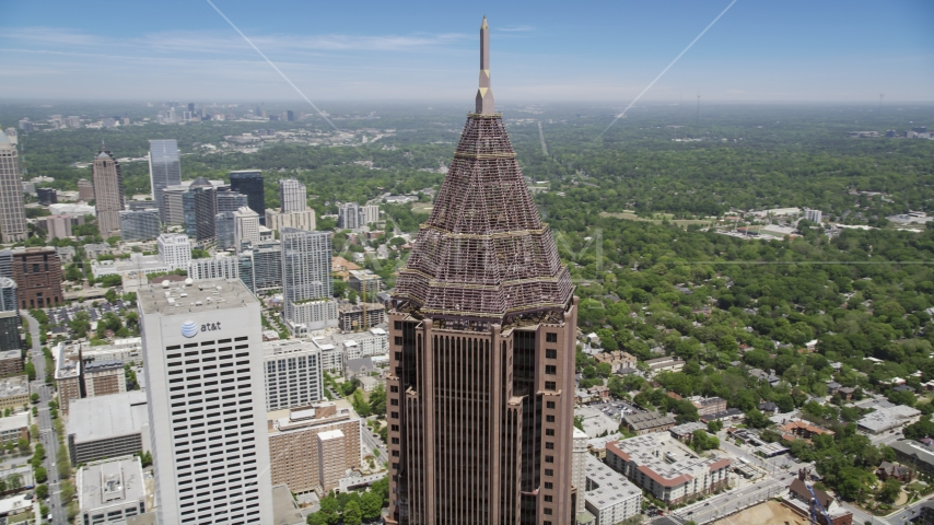 Close-up of the top of Bank of America Plaza, Midtown Atlanta, Georgia Aerial Stock Photo AX36_042.0000107F | Axiom Images