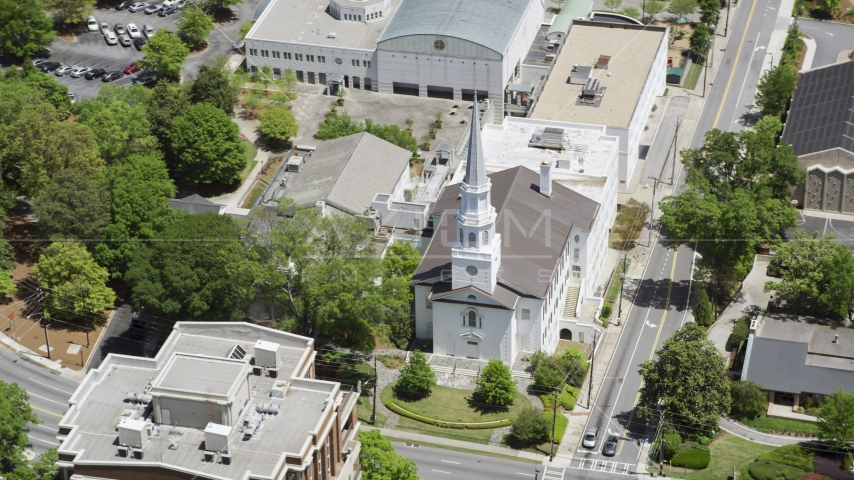 Church on corner on Peachtree Road and East Wesley,  Buckhead, Georgia Aerial Stock Photos | AX36_053.0000055F