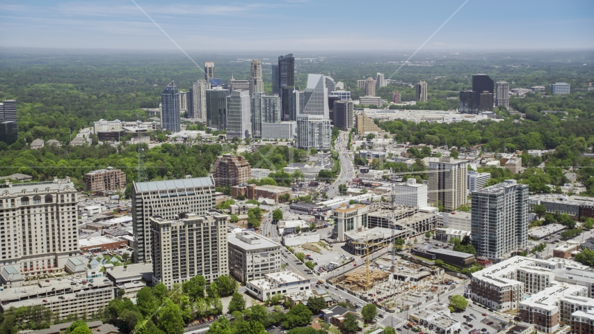 High-rises and skyscrapers bordering Peachtree Road, Buckhead, Georgia Aerial Stock Photos | AX36_054.0000217F
