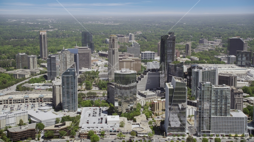 3344 Peachtree and skyscrapers, Buckhead, Georgia Aerial Stock Photos | AX36_057.0000036F