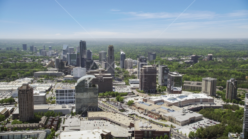 Skyscrapers and office buildings, Buckhead, Georgia Aerial Stock Photo AX36_063.0000134F | Axiom Images