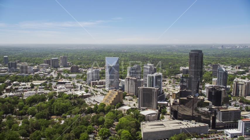 Skyscrapers and high-rises among trees, Buckhead, Georgia Aerial Stock Photo AX36_065.0000226F | Axiom Images