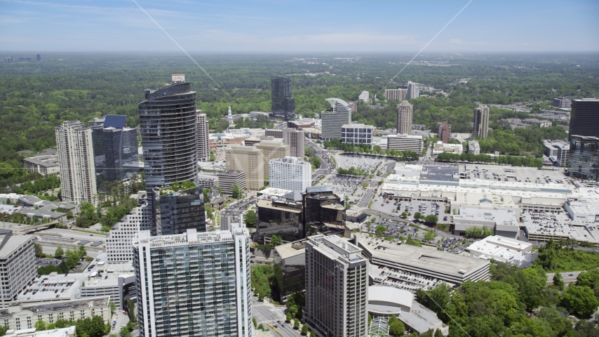 Skyscrapers and office buildings near a shopping center, Buckhead, Georgia Aerial Stock Photo AX36_069.0000188F | Axiom Images