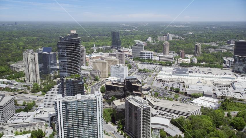 Skyscrapers and office buildings near a shopping center, Buckhead, Georgia Aerial Stock Photos | AX36_069.0000188F
