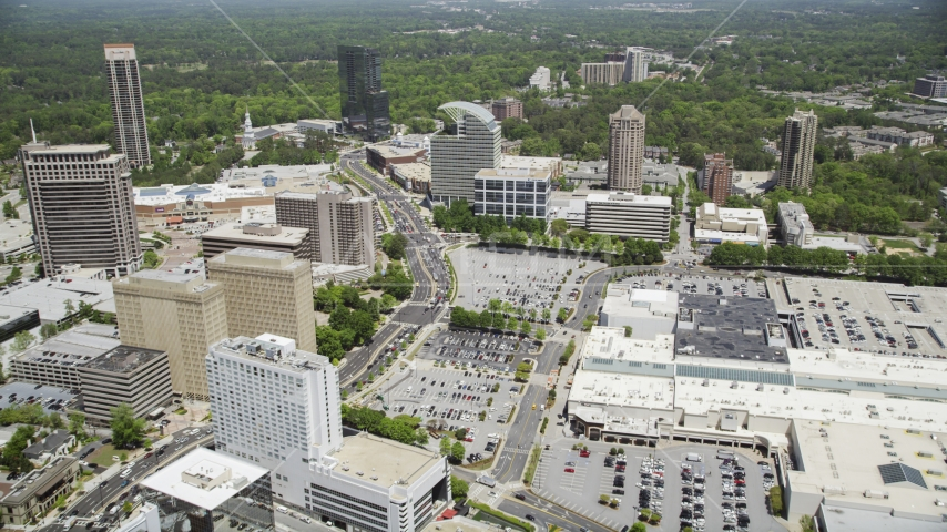 Peachtree Road near The Pinnacle, Buckhead, Georgia Aerial Stock Photos | AX36_070.0000089F