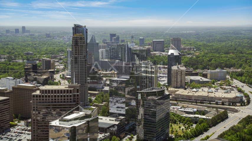 Skyscrapers and office buildings on a hazy day, Buckhead, Georgia Aerial Stock Photos | AX36_073.0000186F
